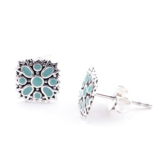 52047-03 STERLING SILVER 8 X 8 MM EARRINGS WITH EPOXY