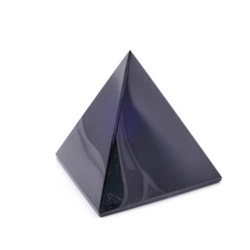 37403 BLACK OBSIDIAN STONE PYRAMID WITH 6 X 6 CM BASE