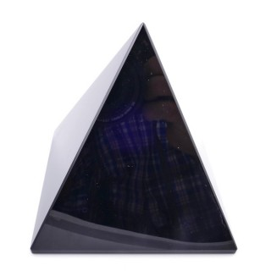 37405 BLACK OBSIDIAN STONE PYRAMID WITH 10 X 10 CM BASE
