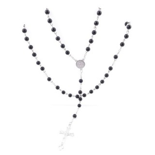 38001-33 ROSARY NECKLACE WITH 59 6 MM BEADS OF RECONSTRUCTED SHUNGITE 75 + 14 CM