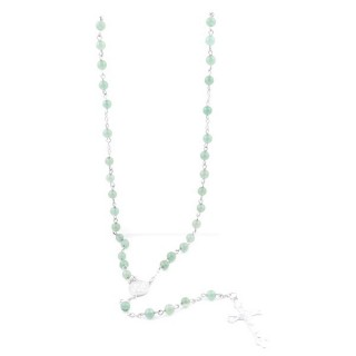 38003-12 ROSARY NECKLACE WITH 59 6 MM BEADS OF GREEN AVENTURINE 75 + 14 CM