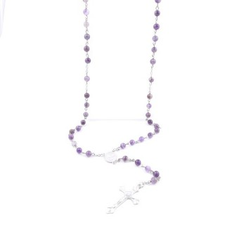 38004-05 ROSARY NECKLACE WITH 59 6 MM BEADS OF AMETHYST 75 + 14 CM