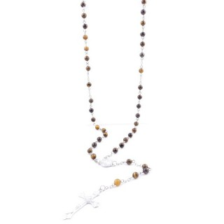 38002-09 ROSARY NECKLACE WITH 59 6 MM BEADS OF TIGER'S EYE 75 + 14 CM