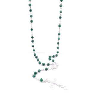 38002-06 ROSARY NECKLACE WITH 59 6 MM BEADS OF SYNTHETIC MALACHITE 75 + 14 CM