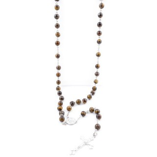 38006-09 ROSARY NECKLACE WITH 59 8 MM BEADS OF TIGER'S EYE 82 + 15 CM