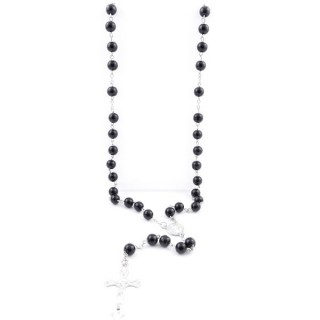 38005-04 ROSARY NECKLACE WITH 59 8 MM BEADS OF ONYX 82 + 15 CM