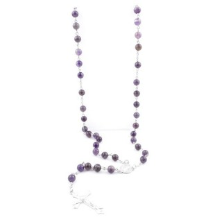 38010-05 ROSARY NECKLACE WITH 59 8 MM BEADS OF AMETHYST 82 + 15 CM
