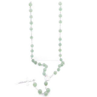 38007-12 ROSARY NECKLACE WITH 59 8 MM BEADS OF GREEN AVENTURINE 82 + 15 CM