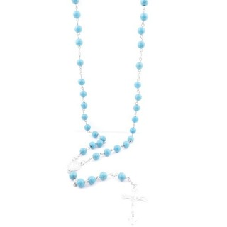 38005-03 ROSARY NECKLACE WITH 59 8 MM BEADS OF SYNTHETIC TURQUOISE 82 + 15 CM
