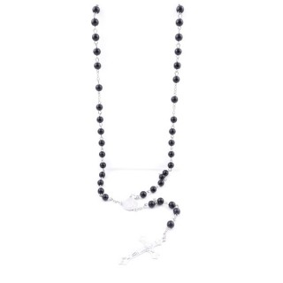 38001-04 ROSARY NECKLACE WITH 59 6 MM BEADS OF ONYX 75 + 14 CM