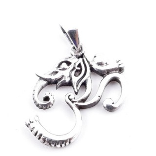 50154 STERLING SILVER OM & ELEPHANT SHAPED 24 X 20 MM PENDANT