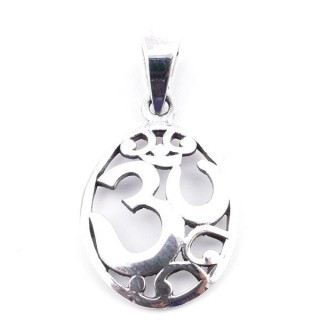 50168 STERLING SILVER PENDANT WITH OM SYMBOL 24 X 17 MM