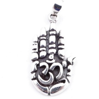 50144 STERLING SILVER PENDANT WITH OM SYMBOL 29 X 15 MM