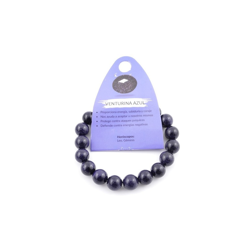 37637-11 ELASTIC 10 MM NATURAL STONE BRACELET IN BLUE SANDSTONE