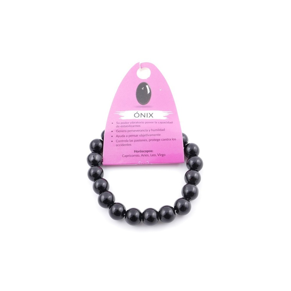 37637-04 ELASTIC 10 MM NATURAL STONE BRACELET IN ONYX