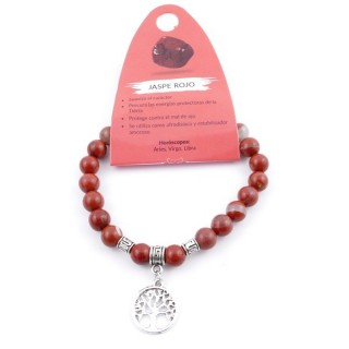 38015-15 ELASTIC 8 MM RED JASPER STONE BRACELET WITH TREE OF LIFE CHARM