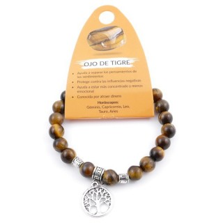 38011-09 ELASTIC 8 MM TIGER'S EYE BRACELET WITH TREE OF LIFE CHARM