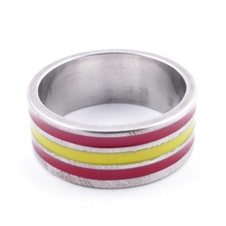 37327 PACK OF 12 8 MM STEEL RINGS IN ASSORTED SIZES WITH SPANISH FLAG