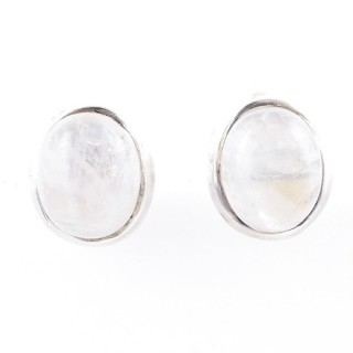 58022-05 STERLING SILVER 12 X 10 MM POST EARRINGS WITH MOONSTONE