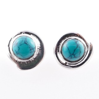 58024-07 STERLING SILVER 12 MM POST EARRINGS WITH TURQUOISE