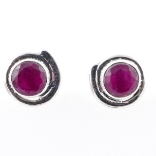 58024-09 STERLING SILVER 12 MM POST EARRINGS WITH RUBY
