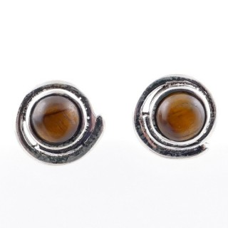 58024-11 STERLING SILVER 12 MM POST EARRINGS WITH TIGER'S EYE