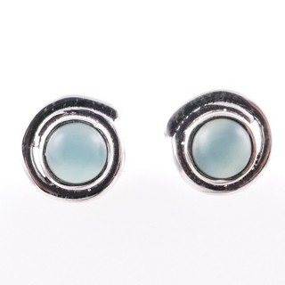 58024-13 STERLING SILVER 12 MM POST EARRINGS WITH CALCEDONIA
