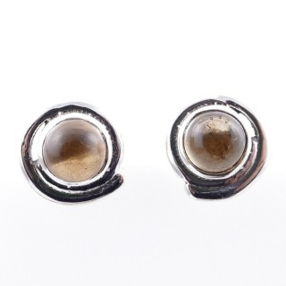 58024-14 STERLING SILVER 12 MM POST EARRINGS WITH CITRINE