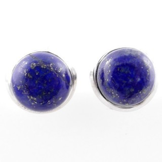 58025-02 STERLING SILVER 12 MM POST EARRINGS WITH LAPIS LAZULI