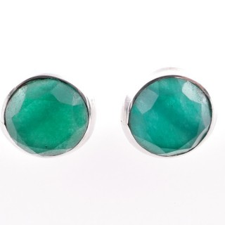 58025-03 STERLING SILVER 12 MM POST EARRINGS WITH EMERALD