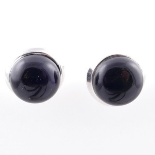 58025-04 STERLING SILVER 12 MM POST EARRINGS WITH ONYX