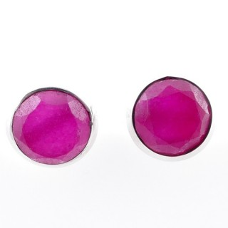 58025-09 STERLING SILVER 12 MM POST EARRINGS WITH RUBY