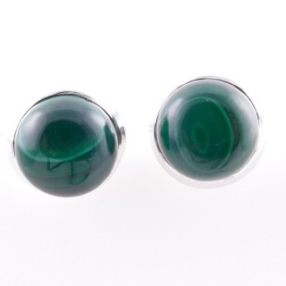 58025-10 STERLING SILVER 12 MM POST EARRINGS WITH MALACHITE