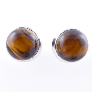 58025-11 STERLING SILVER 12 MM POST EARRINGS WITH TIGER'S EYE