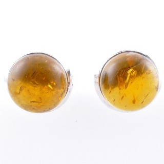 58025-12 STERLING SILVER 12 MM POST EARRINGS WITH AMBER