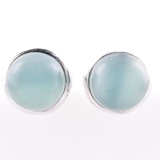 58025-13 STERLING SILVER 12 MM POST EARRINGS WITH CALCEDONIA