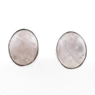 58026-01 STERLING SILVER 11 X 9 MM POST EARRINGS WITH ROSE QUARTZ