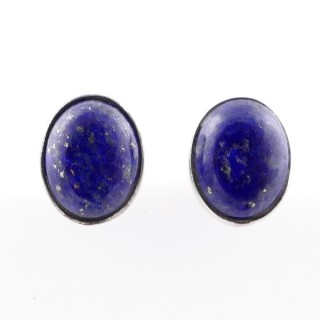 58026-02 STERLING SILVER 11 X 9 MM POST EARRINGS WITH LAPIS LAZULI