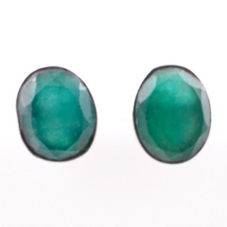 58026-03 STERLING SILVER 11 X 9 MM POST EARRINGS WITH EMERALD
