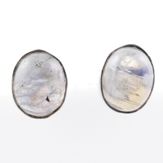 58026-05 STERLING SILVER 11 X 9 MM POST EARRINGS WITH MOONSTONE