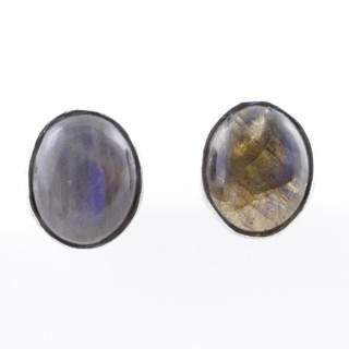 58026-08 STERLING SILVER 11 X 9 MM POST EARRINGS WITH LABRADORITE
