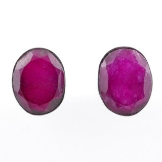 58026-09 STERLING SILVER 11 X 9 MM POST EARRINGS WITH RUBY