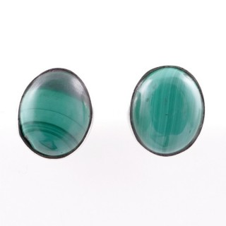 58026-10 STERLING SILVER 11 X 9 MM POST EARRINGS WITH MALACHITE