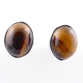 58026-11 STERLING SILVER 11 X 9 MM POST EARRINGS WITH TIGER'S EYE