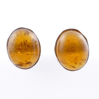 58026-12 STERLING SILVER 11 X 9 MM POST EARRINGS WITH AMBER