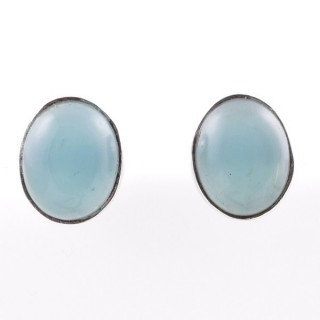 58026-13 STERLING SILVER 11 X 9 MM POST EARRINGS WITH CALCEDONIA