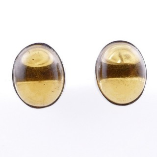 58026-14 STERLING SILVER 11 X 9 MM POST EARRINGS WITH CITRINE