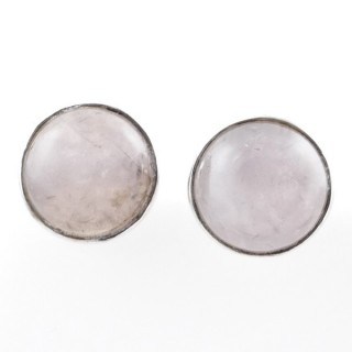 58027-01 STERLING SILVER 11 MM POST EARRINGS WITH ROSE QUARTZ