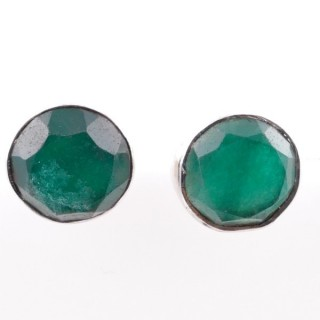 58027-03 STERLING SILVER 11 MM POST EARRINGS WITH EMERALD