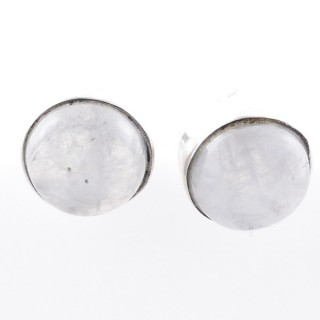 58027-05 STERLING SILVER 11 MM POST EARRINGS WITH MOONSTONE